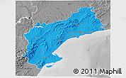 Political 3D Map of Tarragona, desaturated