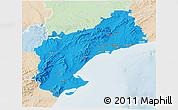 Political 3D Map of Tarragona, lighten