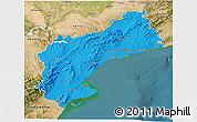 Political 3D Map of Tarragona, satellite outside