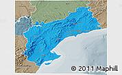 Political 3D Map of Tarragona, semi-desaturated