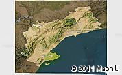 Satellite 3D Map of Tarragona, darken
