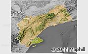 Satellite 3D Map of Tarragona, desaturated