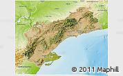 Satellite 3D Map of Tarragona, physical outside