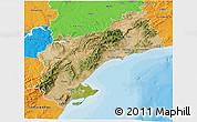 Satellite 3D Map of Tarragona, political outside
