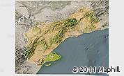 Satellite 3D Map of Tarragona, semi-desaturated
