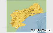 Savanna Style 3D Map of Tarragona, single color outside