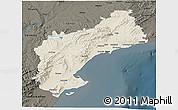 Shaded Relief 3D Map of Tarragona, darken