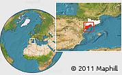 Satellite Location Map of Tarragona, highlighted parent region