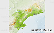 Physical Map of Tarragona, lighten