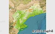 Physical Map of Tarragona, satellite outside