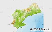 Physical Map of Tarragona, single color outside
