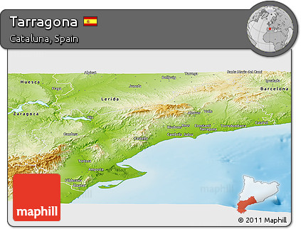 Physical Panoramic Map of Tarragona