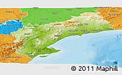 Physical Panoramic Map of Tarragona, political outside