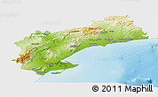 Physical Panoramic Map of Tarragona, single color outside