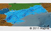 Political Panoramic Map of Tarragona, darken