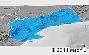 Political Panoramic Map of Tarragona, desaturated