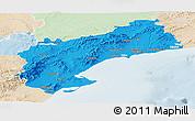 Political Panoramic Map of Tarragona, lighten