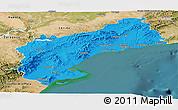 Political Panoramic Map of Tarragona, satellite outside