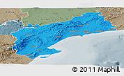 Political Panoramic Map of Tarragona, semi-desaturated