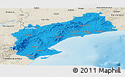 Political Panoramic Map of Tarragona, shaded relief outside