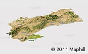 Satellite Panoramic Map of Tarragona, cropped outside