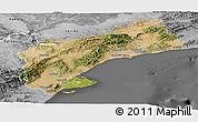 Satellite Panoramic Map of Tarragona, desaturated