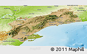 Satellite Panoramic Map of Tarragona, physical outside