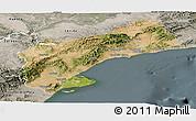 Satellite Panoramic Map of Tarragona, semi-desaturated