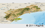Satellite Panoramic Map of Tarragona, shaded relief outside