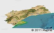 Satellite Panoramic Map of Tarragona, single color outside