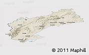 Shaded Relief Panoramic Map of Tarragona, cropped outside