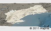Shaded Relief Panoramic Map of Tarragona, darken