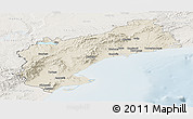 Shaded Relief Panoramic Map of Tarragona, lighten