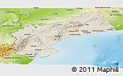 Shaded Relief Panoramic Map of Tarragona, physical outside