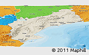 Shaded Relief Panoramic Map of Tarragona, political outside