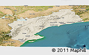 Shaded Relief Panoramic Map of Tarragona, satellite outside