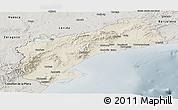 Shaded Relief Panoramic Map of Tarragona, semi-desaturated