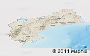 Shaded Relief Panoramic Map of Tarragona, single color outside