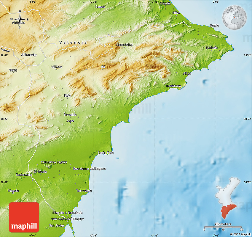 Alicante Map Of Spain.Physical Map Of Alicante