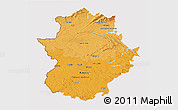 Political Shades 3D Map of Extremadura, cropped outside