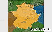 Political Shades 3D Map of Extremadura, darken