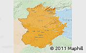 Political Shades 3D Map of Extremadura, lighten
