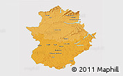 Political Shades 3D Map of Extremadura, single color outside