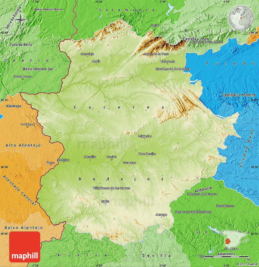 Map Of Spain Extremadura.Physical Map Of Extremadura Political Shades Outside