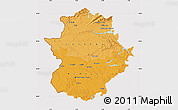 Political Shades Map of Extremadura, cropped outside