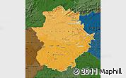 Political Shades Map of Extremadura, darken