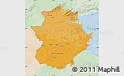 Political Shades Map of Extremadura, lighten