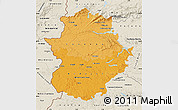 Political Shades Map of Extremadura, shaded relief outside