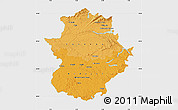 Political Shades Map of Extremadura, single color outside