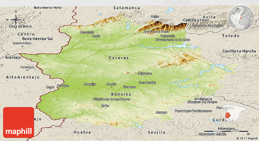 Map Of Spain Extremadura.Physical Panoramic Map Of Extremadura Shaded Relief Outside